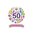 Anniversary background with happy outline icons vector image