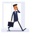 Businessman walking and talking on the phone vector image