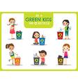 Green kids segregating trash recycling concept vector image