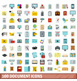 100 document icons set flat style vector image