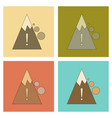 assembly flat icons mountain stones fall vector image