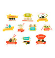 japanese sushi and rolls with wooden chopsticks vector image