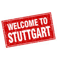 stuttgart red square grunge welcome to stamp vector image