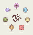 Chakra icon set with om calligraphy vector image