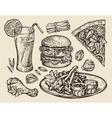fast food hand drawn pizza hamburger fries vector image