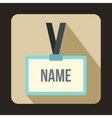 Plastic Name badge with gray neck strap icon vector image