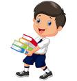 Cartoon boy holding a pile of books vector image