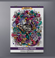 cartoon hand-drawn doodles musical poster vector image