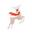 flat christmas reindeer in red scarf vector image