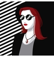 young wo style modern fashion red hair hat striped vector image