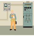Electrician and equipment vector image