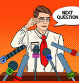 pop art man giving press conference vector image