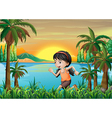 A girl jogging near the lake vector image