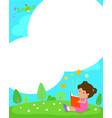 blank template girl reading a book vector image