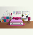 Girl Room Realistic Interior vector image