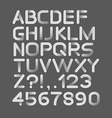Paper white strict alphabet rounded Isolated on vector image