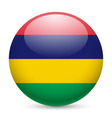 Round glossy icon of mauritius vector image