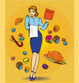 waitress female retro pop vector image