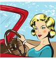 pop art of woman driving red vector image