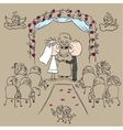 Wedding ceremony in church vector image