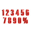 3d red discount numbers percent numbers vector image