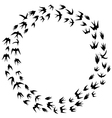 Swallow silhouette in circle frame vector image