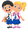 Cartoon school children vector image vector image