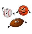 Baseball basketball and rugby balls vector image