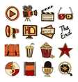 Cinema vintage icons set color vector image