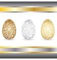 Gold silver bronze eggs vector image