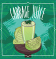 healthy fresh green cabbage juice with vegetables vector image
