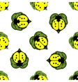 Ladybugs on leaves seamless pattern vector image