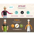 Profession Concept Stylist and Cook Flat Design vector image