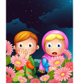 Two girls hiding in the middle of the night vector image