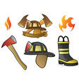 Firefighter Icons and Fire Symbols vector image vector image