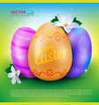 happy easter greeting card with three painted eggs vector image