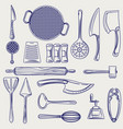 hand drawn cutlery collection sketch vector image