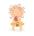 cute cartoon curly baby girl in yellow dress vector image