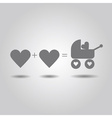 Two love hearts and a baby love in the stroller vector image