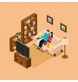 Family Home Watching TV Isometric Banner vector image