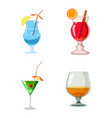cocktail icon set cartoon style vector image