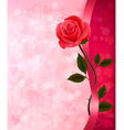 Holiday background with red rose and ribbon vector image