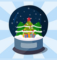 snow clobe christmas magic ball transparent vector image