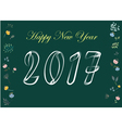 Happy New Year 2017 White chalk and flowers vector image