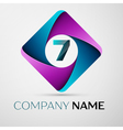Number seven logo symbol in the colorful rhombus vector image