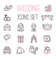 Outline wedding day black and pink marriage icons vector image