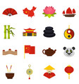 china travel symbols icons set in flat style vector image