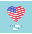 Heart shape flag Star and strip Patriot day Flat vector image