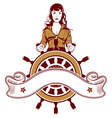 ship wheel girl emblem vector image vector image