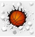 Basketball and with wall damage vector image